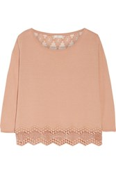 Joie Jenka Lace Paneled Silk And Cotton Top Neutral