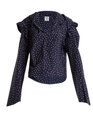 Vetements Ruffle Trimmed Polka Dot Silk Hooded Blouse Navy Multi