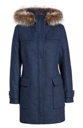 Pendleton Portland Wool Duffle Coat With Genuine Fur Trim Indigo Mel