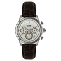 Rotary Gs02876 06 Men's Monaco Chronograph Leather Strap Watch Brown Silver