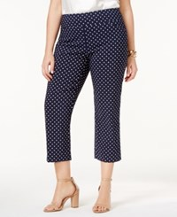 Charter Club Plus Size Cambridge Tummy Control Polka Dot Capri Pants Only At Macy's Deepest Navy