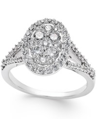 Macy's Diamond Cluster Halo Engagement Ring 1 Ct. T.W. In 14K White Gold