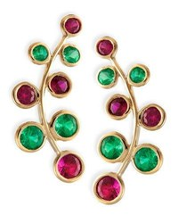 Rina Limor 18K Yellow Gold Vine Earrings With Rubies And Emeralds
