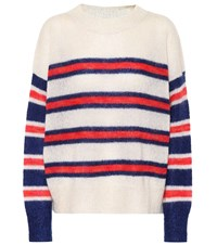 Etoile Isabel Marant Russell Striped Mohair Blend Sweater White