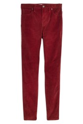 Madewell 10 Inch High Waist Corduroy Skinny Jeans Canterbury Red