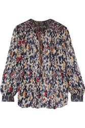 Isabel Marant Pilay Cotton Paneled Printed Silk Georgette Blouse Multi