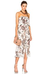 Zimmermann Karmic Strapless Flounce Dress In Neutrals Floral Neutrals Floral
