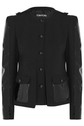 Tom Ford Patent Leather Paneled Stretch Wool Jacket Black