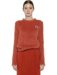 Rochas Embellished Mohair Blend Knit Sweater Rust