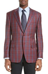 Canali Men's Big And Tall Classic Fit Plaid Wool Sport Coat Red