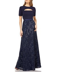 Kay Unger New York Cutout Crepe Gown W Sequin Skirt Majestic Navy