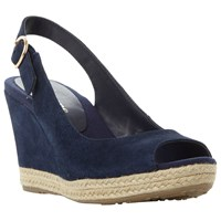 Dune Wide Fit Klick Wedge Heeled Sandals Navy Suede