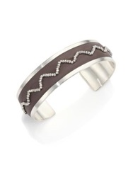 Chan Luu Beaded Leather And Sterling Silver Cuff Bracelet Silver Brown