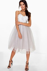 Boohoo Ana Corded Lace Tulle Prom Dress Grey