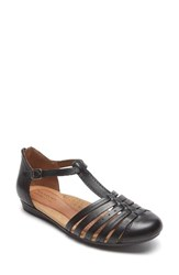 Rockport Cobb Hill Women's Galway T Strap Sandal Black Leather