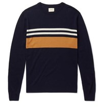 Bellerose Slim Fit Striped Merino Wool Sweater Navy
