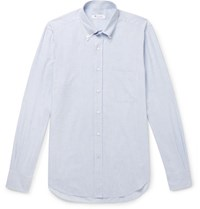 Loro Piana Alfred Button Down Collar Puppytooth Brushed Cotton Shirt Light Blue