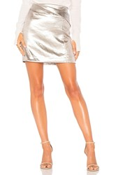 Halston Faux Wrap Draped Mini Skirt Metallic Silver