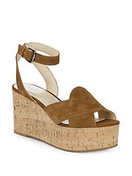 Nine West Kierredy Suede Ankle Strap Wedges Brown Sugar