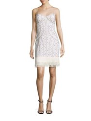 Aidan Mattox Beaded Fringe Hem Dress Ivory