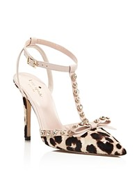 Kate Spade New York Lydia Leopard Print Calf Hair T Strap High Heel Pumps Blush Brown