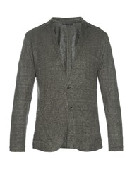 John Varvatos Linen Blend Knit Cardigan Grey