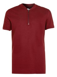 Topman Burgundy Zip Collar Polo Shirt Red
