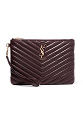 Saint Laurent Monogramme Quilted Leather Pouch Burgundy