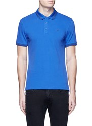 Armani Collezioni Eagle Logo Print Stripe Polo Shirt Blue