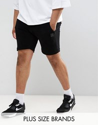Religion Plus Sweat Shorts In Black Towelling Black