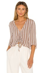 Bcbgeneration Ruched Front Blouse In Taupe.