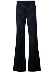Alexander Mcqueen Loose Fit Pinstripe Trousers Men Acetate Viscose Wool 46 Black