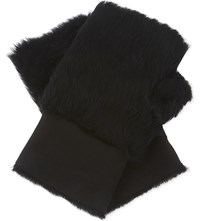 Karl Donoghue Lambskin Reversible Fingerless Gloves Onyx