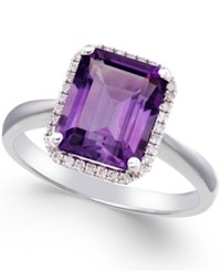 Macy's Amethyst 2 3 4 Ct. T.W. And Diamond 1 8 Ct. T.W. Ring 14K White Gold