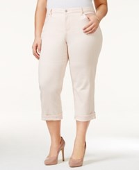 Styleandco. Style And Co. Plus Size Tummy Control Capri Jeans Pink Bliss