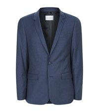 Sandro Flannel Light Suit Jacket Male Blue