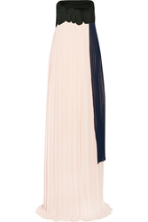 Issa Femke Pleated Chiffon And Coated Jersey Gown