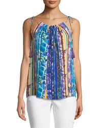 Laundry By Shelli Segal Floral Striped Sleeveless Blouse Black