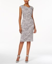 Connected Cap Sleeve Pleated Sheath Dress Grey