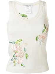 Christian Dior Vintage Floral Embroidered Top Nude Neutrals