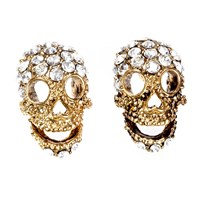 Shay Accessories Mini Skull Post Earrings Gold Clear Diamond
