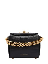 Alexander Mcqueen Box 16 Croc Embossed Leather Bag Black