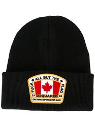 Dsquared2 Canadian Flag Patch Beanie Black
