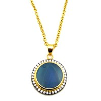Meghna Jewels Aqua Blue Round Druzy Necklace Pink Purple