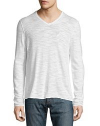 John Varvatos V Neck Long Sleeve Sweater With Pintuck Detail Ivory Women's