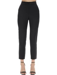 Lanvin Cropped Wide Leg Wool And Silk Pants Black
