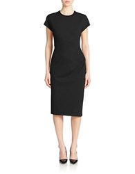 Anne Klein Short Sleeve Side Draped Sheath Dress Black