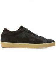 Leather Crown Classic Lace Up Sneakers Brown