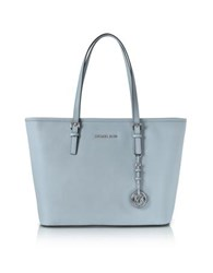 Michael Kors Jet Set Travel Dusty Blue Saffiano Leather Top Zip Tote Light Blue