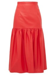 Christopher Kane Gathered Leather Midi Skirt Red